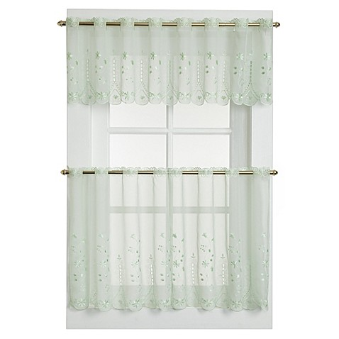 Samantha Sheer Window Curtain Tier Pairs In Sage Bed