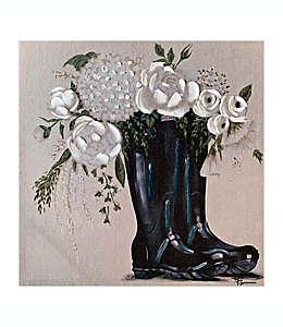 Cuadro decorativo de botas con flores, 50.8 cm