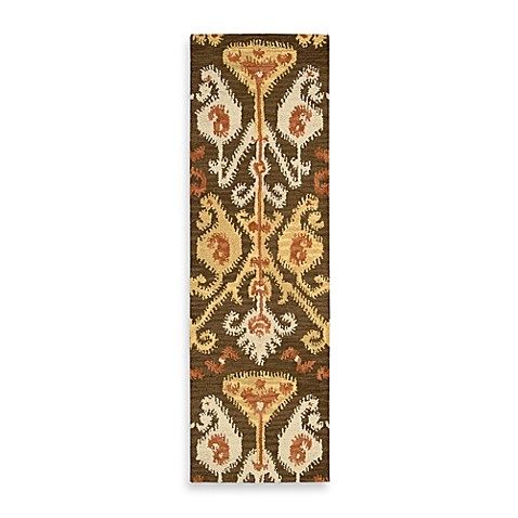 "Nourison Siam 2'3"" x 7'6"" Hand Tufted Area Rug in Chocolate"