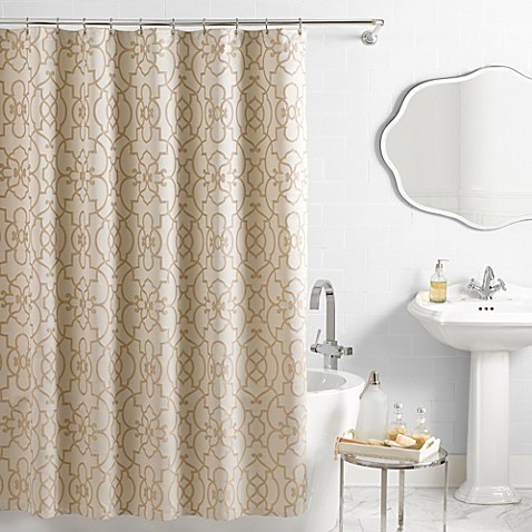Vue® Signature Iron Gates Jacquard Shower Curtain in Ivory/Tan ...