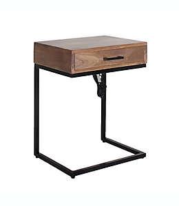 Mesa de noche de madera con puertos USB Global Caravan™ en carbón