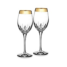 image of Waterford Lismore Essence Gold 14-Ounce Wine Glasses (Set of 2)