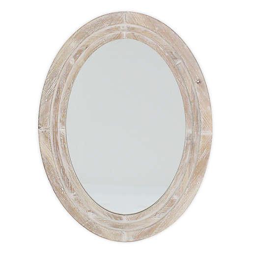 31 5 Inch X 23 25 Oval Wall Mirror, Whitewash Oval Wood Wall Mirror