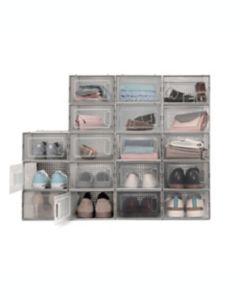 Contenedores para zapatos de polipropileno con puerta frontal abatible