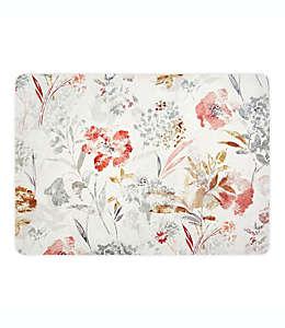 Mantel individual plastificado de polipropileno con diseño floral color natural