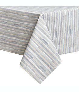 Mantel para mesa plastificado a rayas de 2.64 x 1.52 m en azul