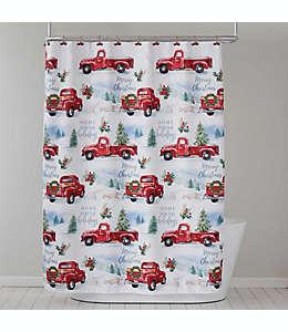 Cortina de baño con ganchos Holiday Trucks en rojo
