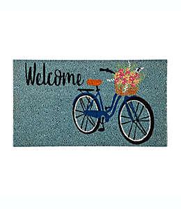 """Tapete para entrada Evergreen con frase """"Welcome"""" y bicicleta, 40.64 x 71.12 cm en verde azulado"""