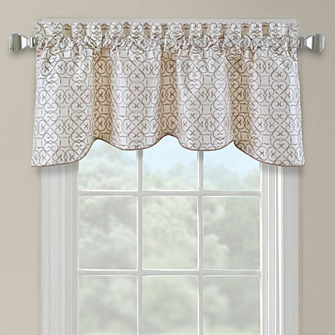 darrow embroidered arch scallop valance in ivory - bed bath & beyond