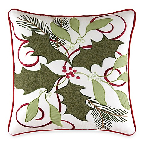 Holiday Garland Embroidered Throw Pillow - Bed Bath & Beyond