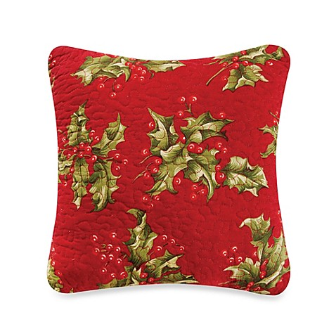 Buy Mistletoe & Holly Square Throw Pillow from Bed Bath & Beyond