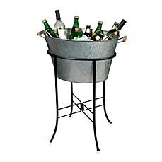 image of Artland® Oasis Galvanized Steel Oval Party Tub with Stand