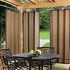 Merveilleux Easy Glide Indoor/Outdoor Bamboo Ring Top Window Curtain Panel In Espresso