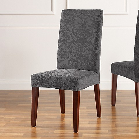 Sure Fit 174 Stretch Jacquard Damask Short Dining Chair
