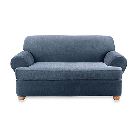 Buy sure fit stretch stripe 2 piece t cushion loveseat slipcover in navy from bed bath beyond Loveseat t cushion slipcovers