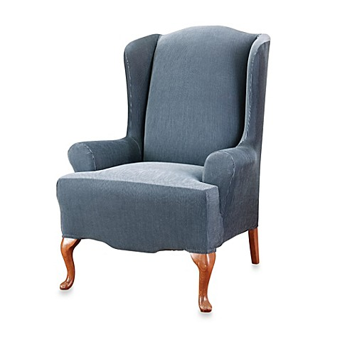 Sure Fit 174 Stretch Stripe Wingback Chair Slipcover Bed