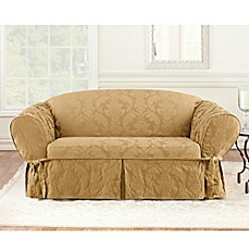 image of sure fit damask 1piece loveseat slipcover
