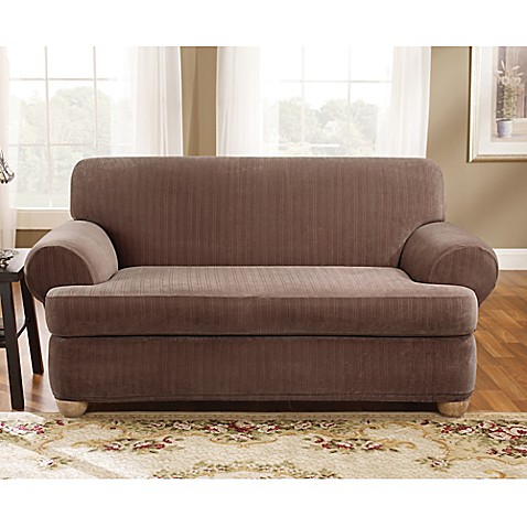 Sure fit stretch pinstripe 2 piece t cushion loveseat slipcover bed bath beyond Loveseat stretch slipcovers