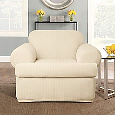 Sure Fit® Stretch Pinstripe 2 Piece T Cushion Chair Slipcover