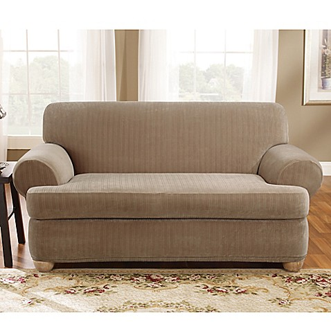 Buy Sure Fit Stretch Pinstripe 2 Piece T Cushion Loveseat Slipcover In Taupe From Bed Bath Beyond