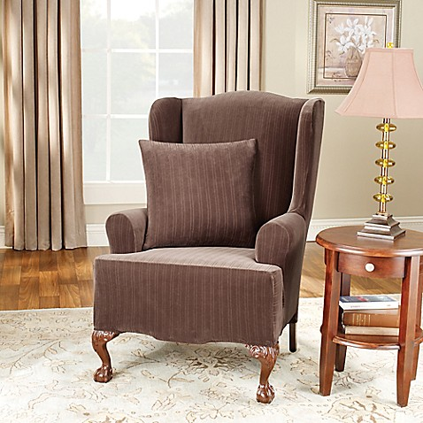 Sure Fitu0026reg; Stretch Pinstripe Wingback Chair Slipcover