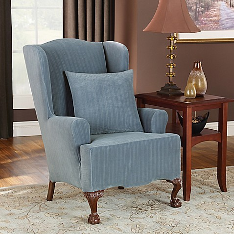 Sure Fit 174 Stretch Pinstripe Wingback Chair Slipcover Bed