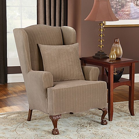 sure fit stretch pinstripe wingback chair slipcover bed
