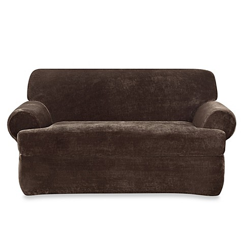 Buy Sure Fit Stretch Plush 2 Piece T Cushion Loveseat Slipcover In Chocolate From Bed Bath Beyond