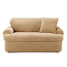 image of Sure Fit® Stretch Pique 2-Piece T-Cushion Sofa Slipcover in Cream