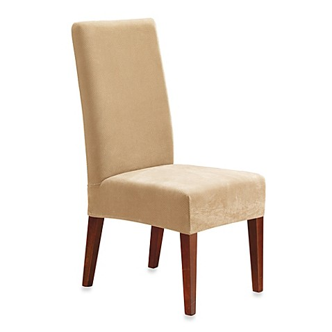 Image Of Sure FitR Stretch Pique Short Dining Room Chair Slipcover
