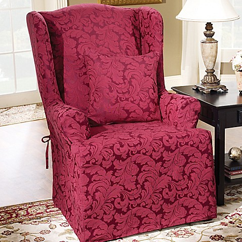 buy sure fit scroll wing chair slipcover in burgundy from