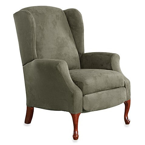 Sure Fit 174 Stretch Suede Wing Recliner Cover In Dark Green