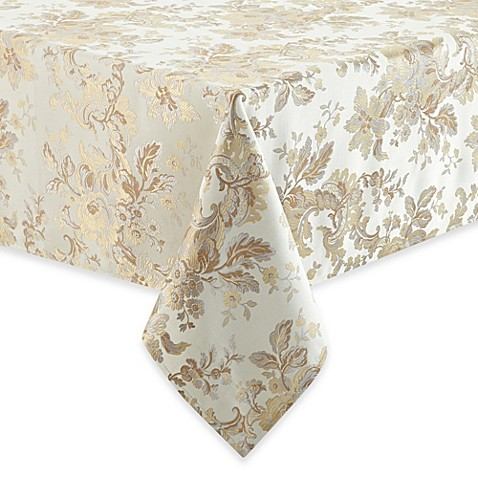 waterford® linens marcelle tablecloth in ivory - bed bath & beyond