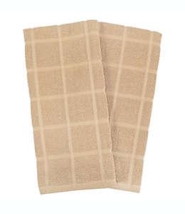 Toallas de cocina de algodón KitchenSmart Colors® lisas color arena, Set de 2