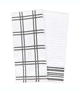 Toallas de cocina de algodón KitchenSmart Colors® a cuadros color gris, 2 piezas