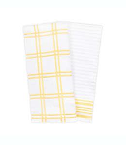 Toallas de cocina de algodón KitchenSmart Colors® a cuadros color amarillo canario, 2 piezas
