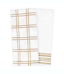 Toallas de cocina de algodón KitchenSmart Colors® a cuadros color arena, 2 piezas