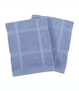 Toallas de cocina de algodón KitchenSmart Colors® lisa color azul, Set de 2
