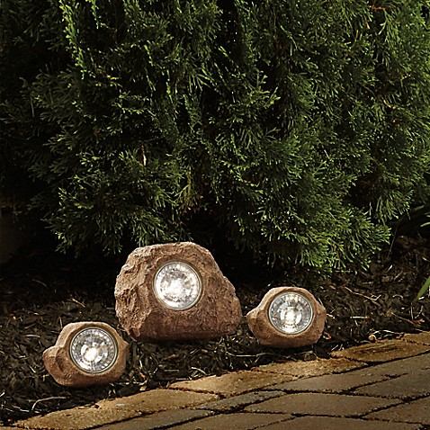 image of solar rock landscaping spotlights set of 3 - Solar Landscape Lights