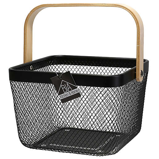 Bia Kitchen Home Square Market Basket With Bamboo Handles In Black Bed Bath Beyond