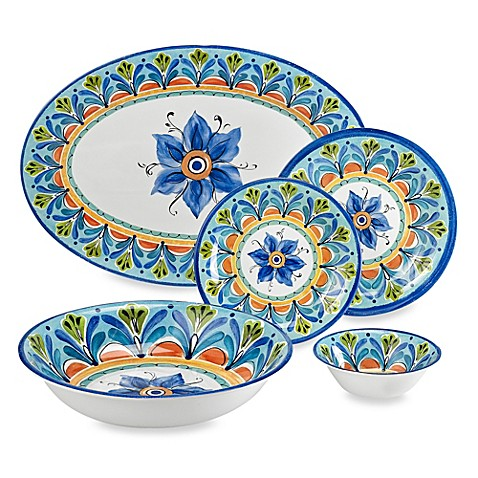 image of azul hand painted look round melamine dinnerware collection - Melamine Dishes