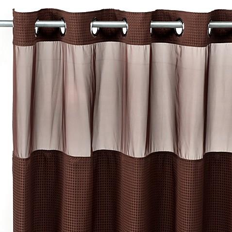 Hooklessu0026reg; Waffle 54 Inch X 80 Inch Stall Fabric Shower Curtain In  Chocolate