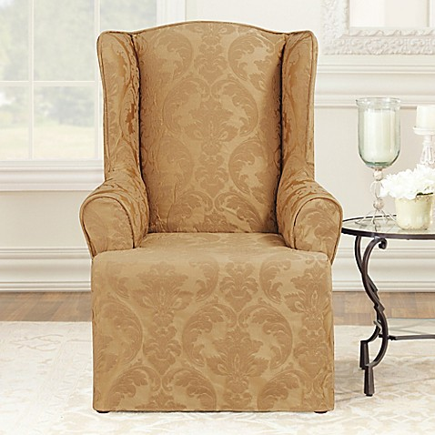 Sure Fit 174 Matelasse Damask Wingback Chair Slipcover Bed