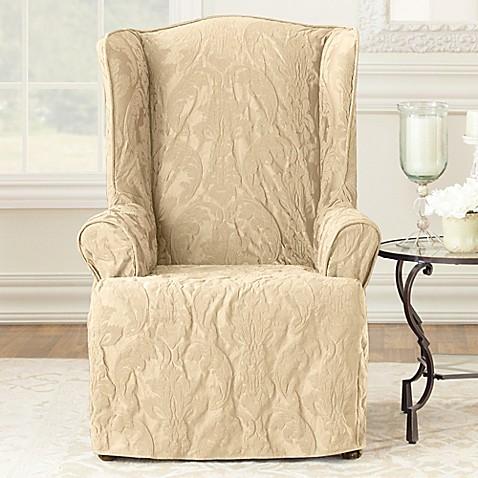 Buy Sure Fit Matelasse Damask Wing Chair Slipcover in Tan