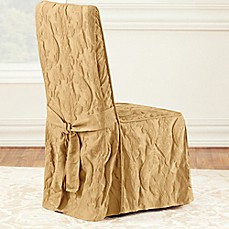 Image Of Sure FitR Matelasse Damask 1 Piece Long Arm Dining Chair Cover