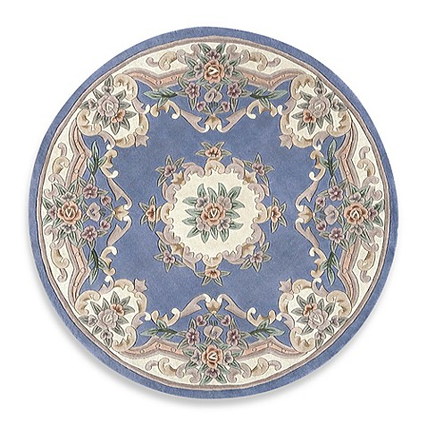 Buy rugs america new aubusson 6 foot round rug in light for Where to buy round rugs