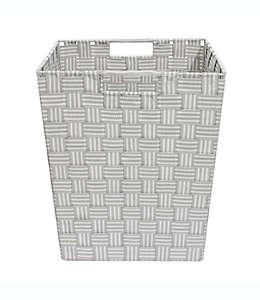 Canasta tejida .ORG con diseño a rayas de 33.02 cm en gris