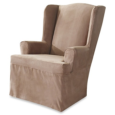Buy Sure Fit Soft Suede Wing Chair Cover In Taupe From