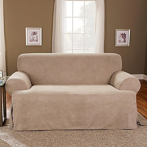 Sure Fit Soft Suede T Cushion Loveseat Slipcover Bed Bath Beyond