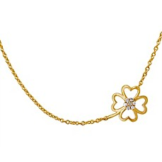image of Violet and Sienna 14K Yellow Gold Plated Sterling Silver .07 cttw Diamond Clover Pendant